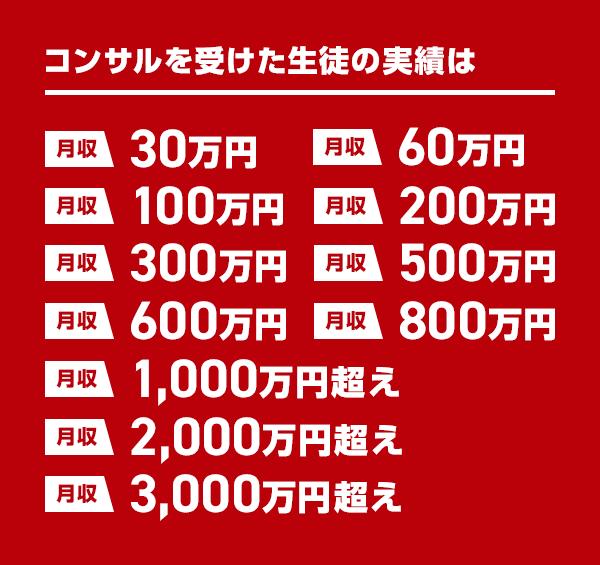 コンサルを受けた生徒の実績は、最高3000万円超え